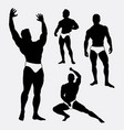 strong and healthy man sport silhouette vector image