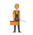 whiskered erector in black overalls holds tool box vector image