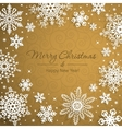 White snowflakes on golden background vector image