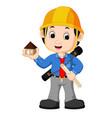 young man architect cartoon vector image