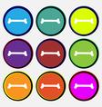 Dog bone icon sign Nine multi colored round vector image