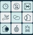 Set of 9 ecology icons includes house home sun vector image