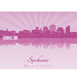 Spokane skyline in purple radiant orchid vector image