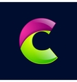 C letter green and pink logo design template vector image