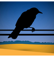 Bird Silhouette with Abstract Desert Scene on vector image