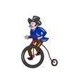 Gentleman Riding Penny-farthing Cartoon vector image