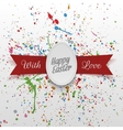 Happy Easter paper Egg Banner with red Ribbon vector image