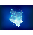 Kenya country map polygonal with spot lights place vector image