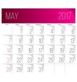 May 2017 calendar template vector image