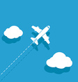 White airplane on a blue background vector image