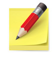 yellow sticker and pencil on white background vector image