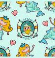 mermaid and seaman seamless pattern kawaii vector image