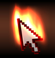 Burning computer cursor arrow vector
