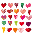 set of multicolored hearts vector image vector image
