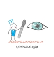 ophthalmologist with a tool to test the eye vector image
