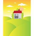House on meadow landscape background vector image