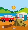 Cameground with tent and caravan vector image vector image