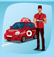 Asian man with sushi and the car vector image