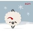 Funny sheep santa symbol of new year 2015 vector image