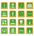 medicine icons set green vector image