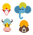 Sacred animals in turban Sacred Indian elephant vector image
