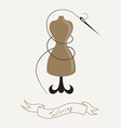 Tailoring emblem with mannequin or dummy and vector image
