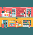 shopping people and counter in super market vector image