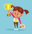 happy smiling little girl winner holds golden cup vector image vector image