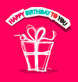 Happy Birthday to You Title with Gift Box Outline vector image
