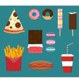 Junk fast food flat style set vector image