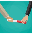 Businessman passes relay baton in hand vector image
