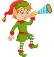 Cartoon funny elf blowing trumpet vector image