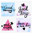 Good Day lettering motivation watercolor stain vector image