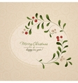 Green sprig with red berries frame isolated on vector image