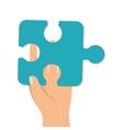 hand finger palm puzzle piece vector image