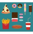 Junk fast food flat style set vector image