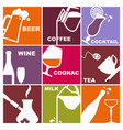 symbols of various beverages vector image