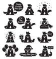 Rooster Emoticons Monochrome Icons Set vector image