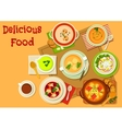 Soup and salad dishes icon for menu design vector image