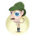 Detective with his magnifying glass vector image