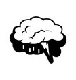 logotype of brain silhouette and rain cloud inside vector image