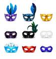 masquerade mask realistic icon set vector image