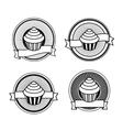Black and white retro cupcake stamps vector image