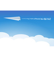 paper airplane in clouds vector image