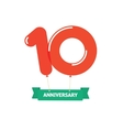 Anniversary 10th balloons poster red label 10 vector image