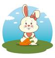 Cute adorable bunny animal cartoon vector image