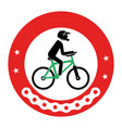 cycling sport emblem icon vector image