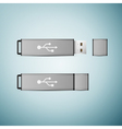 Grey USB flash drive icon isolated on blue vector image