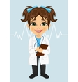 little girl wearing laboratory coat writing notes vector image