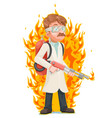 mad scientist with flamethrower cleansing vector image